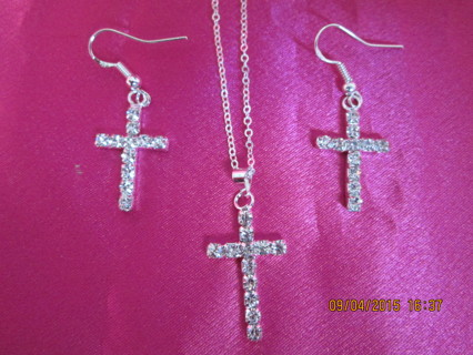 925 Rhinestone Cross Pendant & Earring Set & FREE Shipping Option