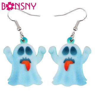 Bonsny Statement Acrylic Halloween Naughty Ghost Earrings Drop Dangle Cute Decoration Jewelry For