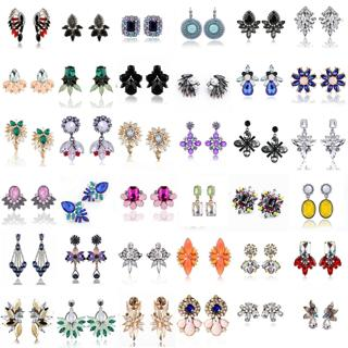 Fashion Elegant Crystal Rhinestone Ear Clip Stud Dangle Drop Earrings Jewelry