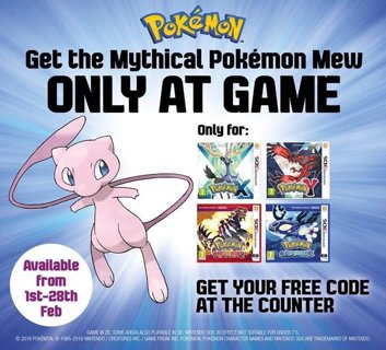 Free: MEW Mythical Pokemon Mystery Gift Code - Video Game