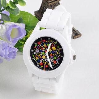 Fashion Silicone Rubber Jelly Gel Quartz Analog Sports Women Wrist Watch Ornate