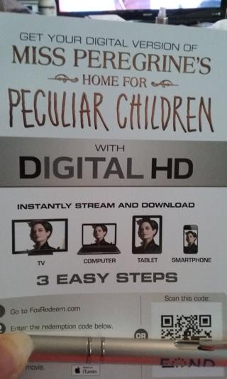 Miss Peregrine's Home for Peculiar Children Digital HD Code