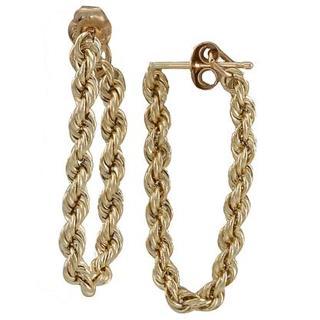 14k Gold Rope Chain Earrings