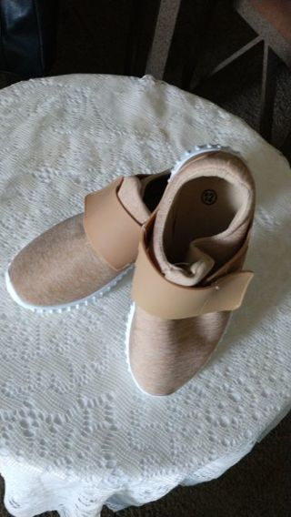 New WOT Boys tan slip on shoes with velcro closings. Size 12