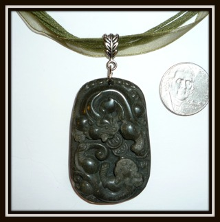 """Green Hetian Jade Gemstone Pendant w/Hand Carved Asian Dragons on Organza Ribbon Necklace, 21"""" Long!"""