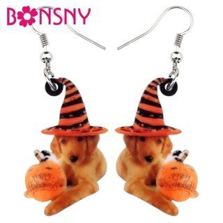 Bonsny Acrylic Halloween Sweet Pumpkin Hat Labrador Dog Earrings Cartoon Animal Jewelry For Women