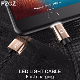 PZOZ LED Light Cable Fast Charger Mobile Phone 8 Pin USB Cable For iphone Xs Max Xr 6 s Plus X 8 7