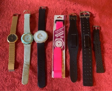 Vintage Watch Lot/Parts/Watches/4 NOS Bands/3 Watches for Parts or Repair/GREAT LOT!