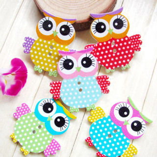 50PCS Hot Mixed Owl Shape Pattern Wooden Buttons Fit Sewing Scrapbook DIY Making