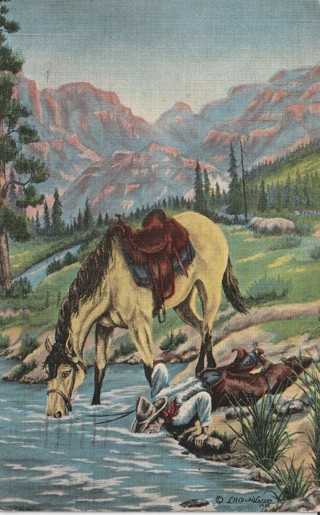 Vintage Used Postcard: 1942 Horse & Cowboy Drinking from Stream