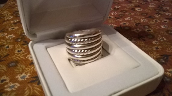 Huge Sterling Silver Rope Ring Size 7 NEW