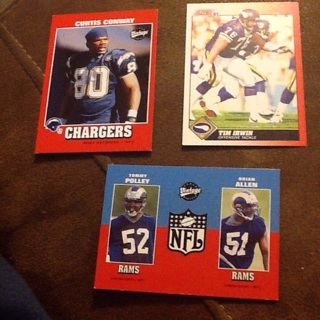 Lot of 3 NFL Cards Conway Irwin Polley and Allen