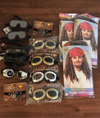 Lot of 14 costume wigs goggles Halloween theater