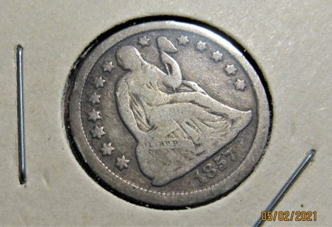 ★★ 1857 SEATED LIBERTY DIME VG+ ★★ **90% SILVER**