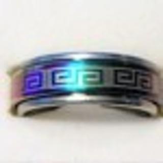 Awesome Blue Stainless Greek Design Spinner Ring BN