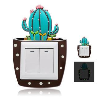 Cute Cartoon 3D Cactus Fluorescent Wall Silicone On-off Switch Stickers Kids Luminous Light Switch