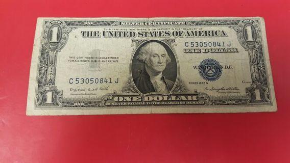 Vintage Series 1935 G $1 Silver Certificate Zero start bid & Free Shipping to US & Canada