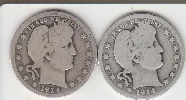1914 & 1914-D Silver Barber Quarters $$
