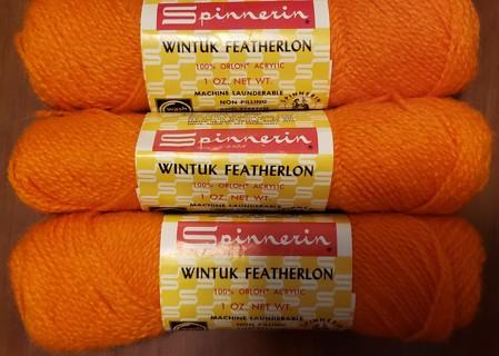 """NEW - Spinnerin Yarns - """"Orange"""" - 3 skeins"""