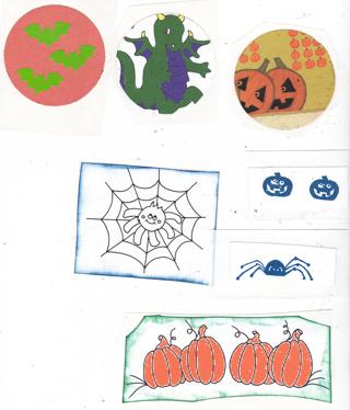 Halloween Kids Stickers Lot Pumpkins Dragon Bats
