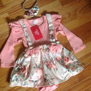 Ribbed 2pcs Floral Print Faux-two Design Long -sleeve Pink Baby Romper.