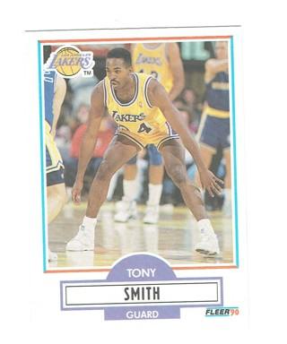Tony Smith Los Angeles Lakers Guard Fleer 1991 NBA Basketball Card #U-45