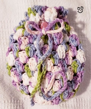"""Crochet Pull String Gift Bag***LQQK*** 5""""Tall 5"""" Diam"""