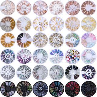 3D Nail Decoration in Wheel Rhinestones Studs Acrylic Tips Nail Art Designs