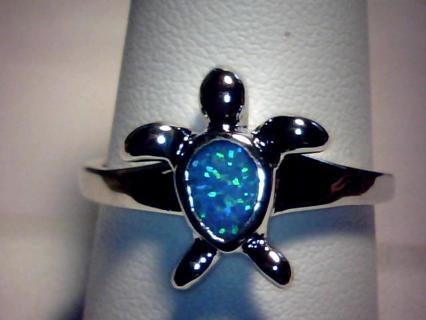 beautiful sterling silver blue opal turtle woman ring