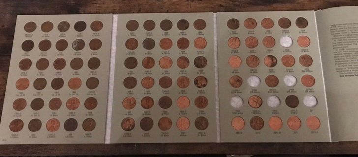 84 Coins Almost Full Penny Pennies Collector Book Folder Lot #71