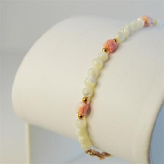 "Coral Tulip Bracelet Elegant Mother of Pearl beads Gold Filled 7"" gemstone NWT"