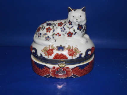 Vintage Porcelain Hinged Decorative Cat Trinket box