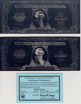 Free: National Collector\'s Mint Large Size $1 Silver Certificate ...