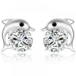 Women Flower Earrings Pierced Rose Charms Crystal Pearl Ear Studs Gold Elegant