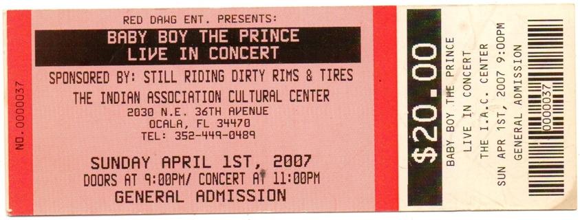 Unused Entry Ticket