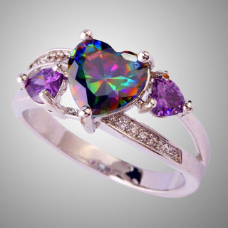 Topaz Amethyst Gemstone Silver Ring Size 6 7 8 9 10 Ring Jewelry