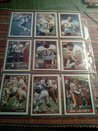 9 Topps Washington Redskins cards