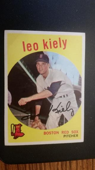 1959 Topps Baseball Card #199, Leo Kiely, Excellent Condition
