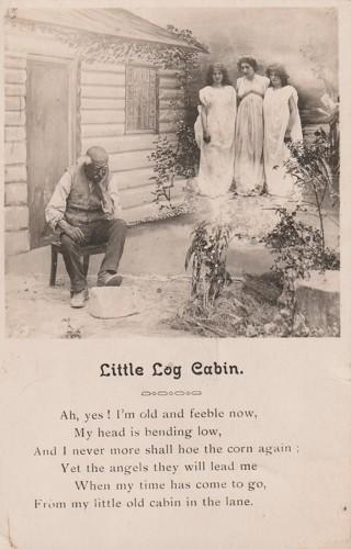 Vintage Unused Postcard: Pre Linen: Little Log Cabin, Poem