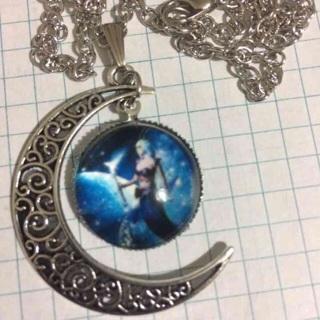 Half Moon Galaxy Pendant Necklace Gift-d46
