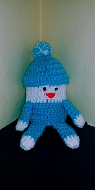 Crochet Humpty Dumpty Bank (B-7576) Turquoise/White
