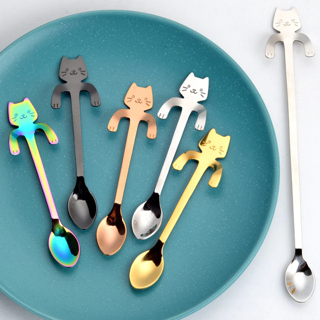 ✿Free Shipping✿ 5 Colors Cute Cat Coffee Spoon Stainless Steel x1pc