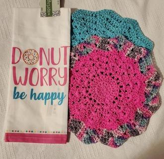 "Crochet 2 - 9"" wash/dish towels plus Potatoe sack dish towel"
