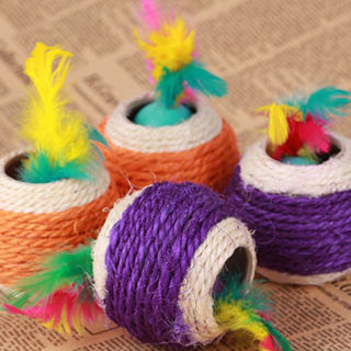 2PCs Interactive Dog Pet For Kitten Lovely Toy Play Chew Cat Toy Rope Sisal Ball