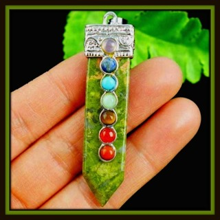 Lovely UNAKITE 7-Chakra GEMSTONE Wand Pendant on 925 Silver Plated Ornate Bail, 70mm x 15mm, NEW!!