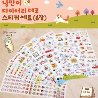 6pcs/Set Creative Cute Cat PVC Sticker for DIY Scrapbooking Diary Phone Sticker Products Design Pa