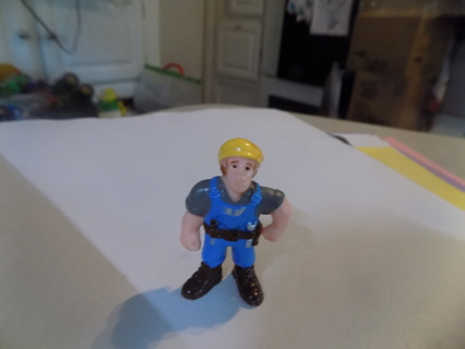 2 inch Lego? Playmobile? construction man yellow hard hat blue outfit