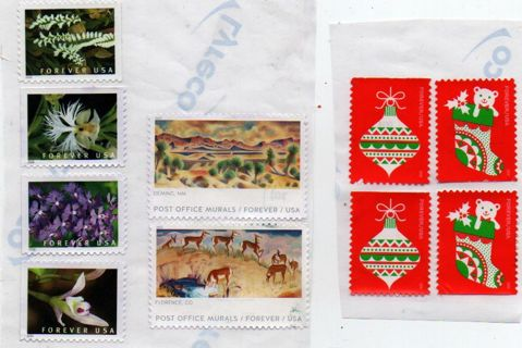 uncanceled US Postage * ten forever stamps * self-adhesive on foil BRO_S5