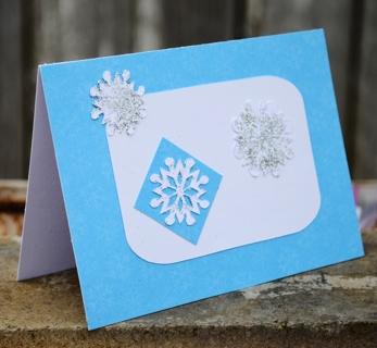 Snowflake card, handmade notecard, blue and white, glittery snow, winter card