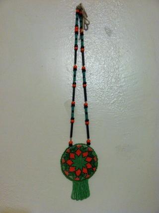 Vintage American: US Craft Beaded Medallion Necklace VGC